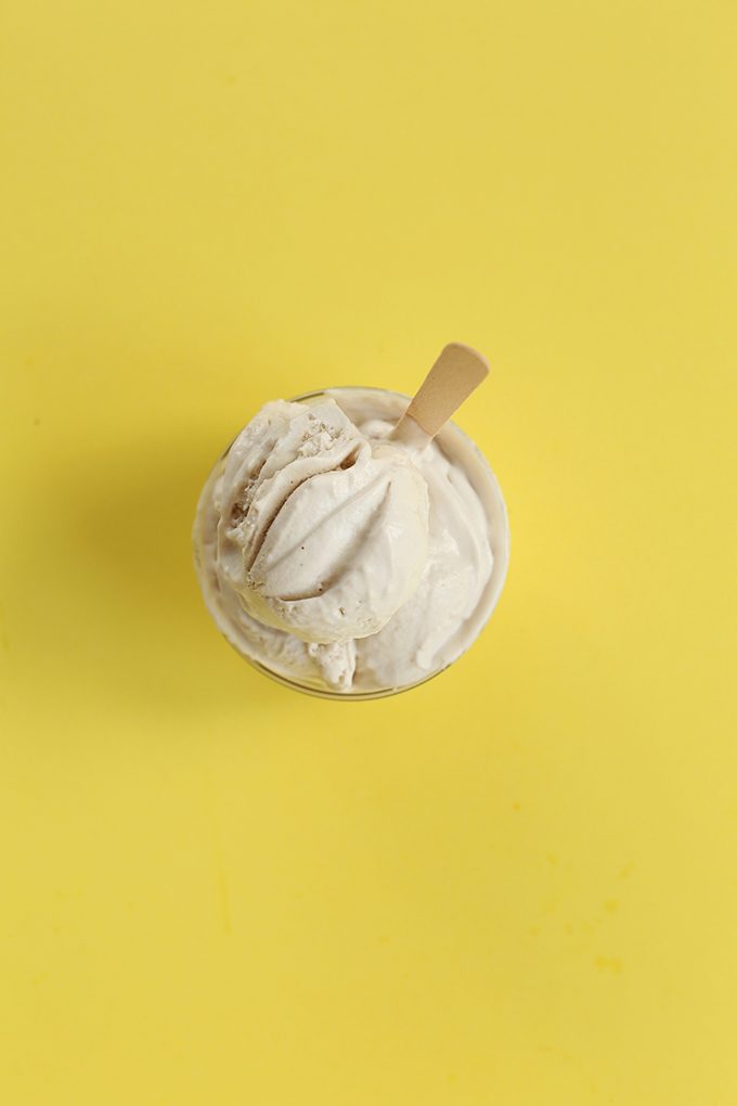 Bowl of Salted Bourbon Caramel Ice Cream on a yellow background