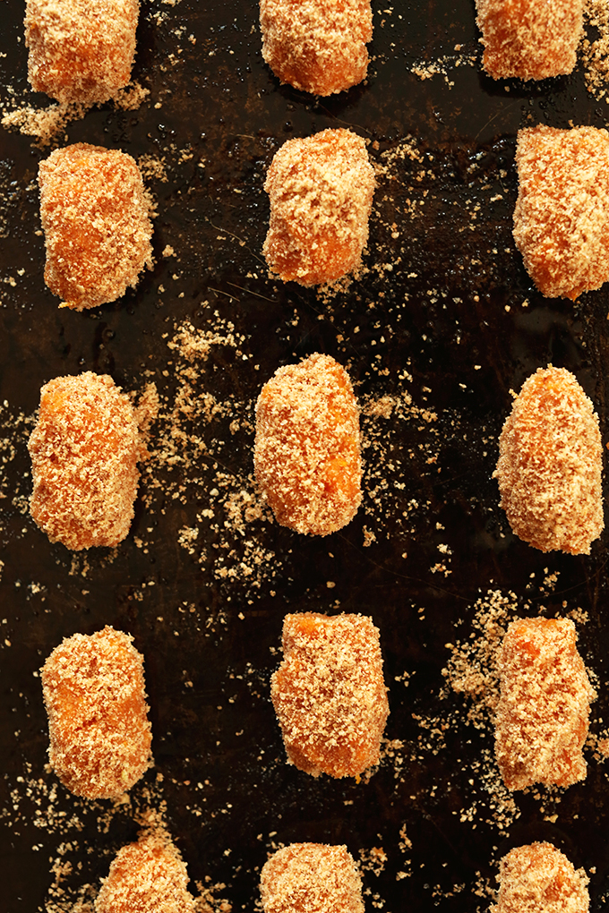 Baking sheet filled with a batch of our Sweet Potato Tater Tots recipe