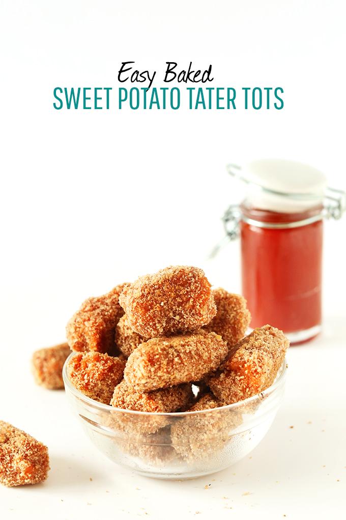 Big bowl of Easy Baked Sweet Potato Tater Tots and a jar of ketchup