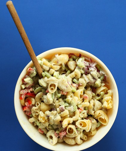 Bowl of Vegan Macaroni Salad for a simple summer cookout recipe