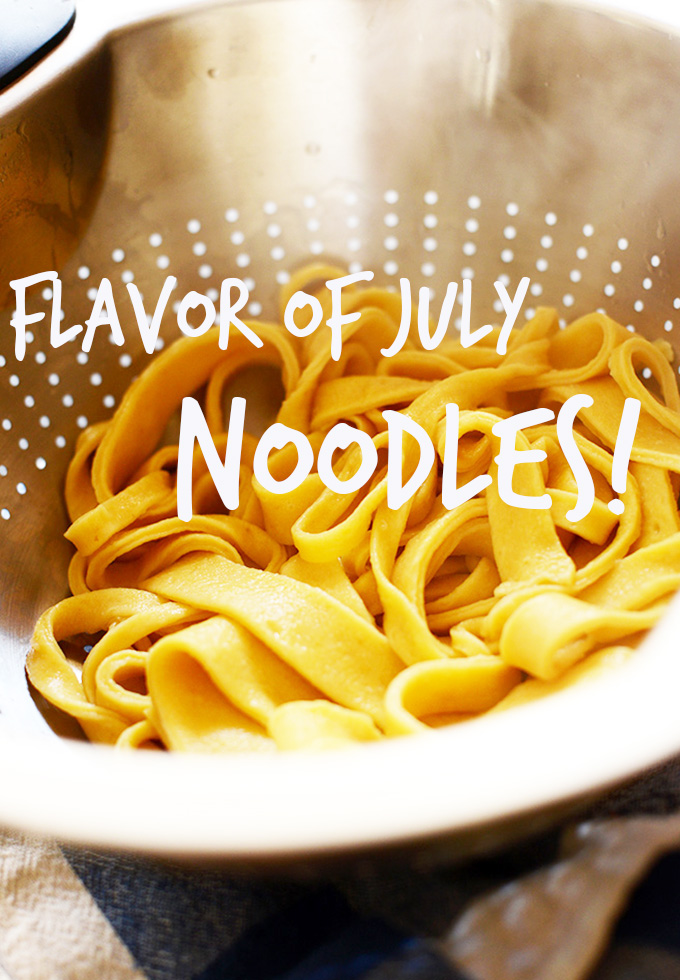 Colander of homemade noodles to represent our Flavor of July