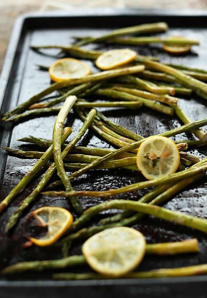 Freshly roasted Lemon Asparagus on a baking sheet