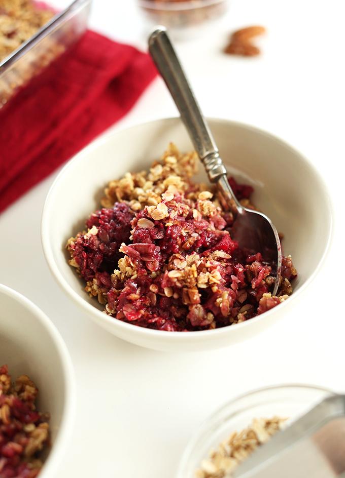 Bowl of gluten-free vegan Raspberry Rhubarb Crisp
