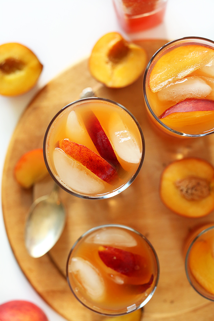 Glasses of our simple and refreshing Peach Iced Tea recipe