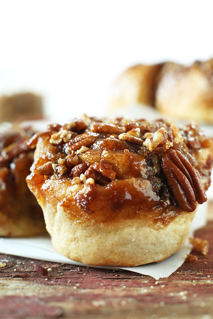 Close up shot of a delicious homemade Vegan Sticky Bun