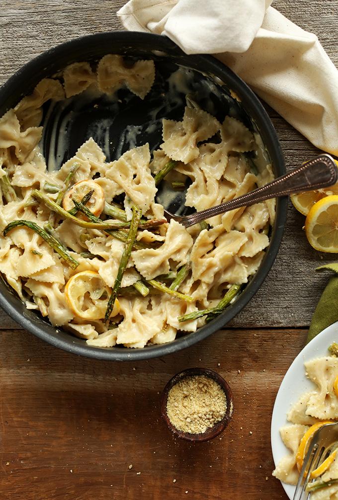 Pan of Creamy Vegan Lemon Asparagus Pasta