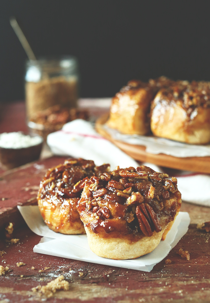 Simple homemade sticky buns topped with brown sugar-pecan glaze