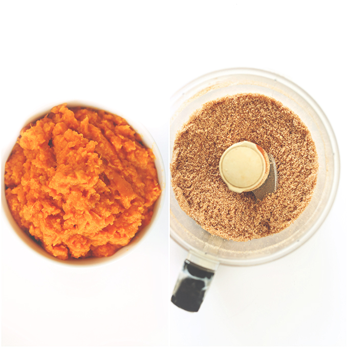 Bowl of mashed sweet potatoes and a food processor filled with finely ground breading