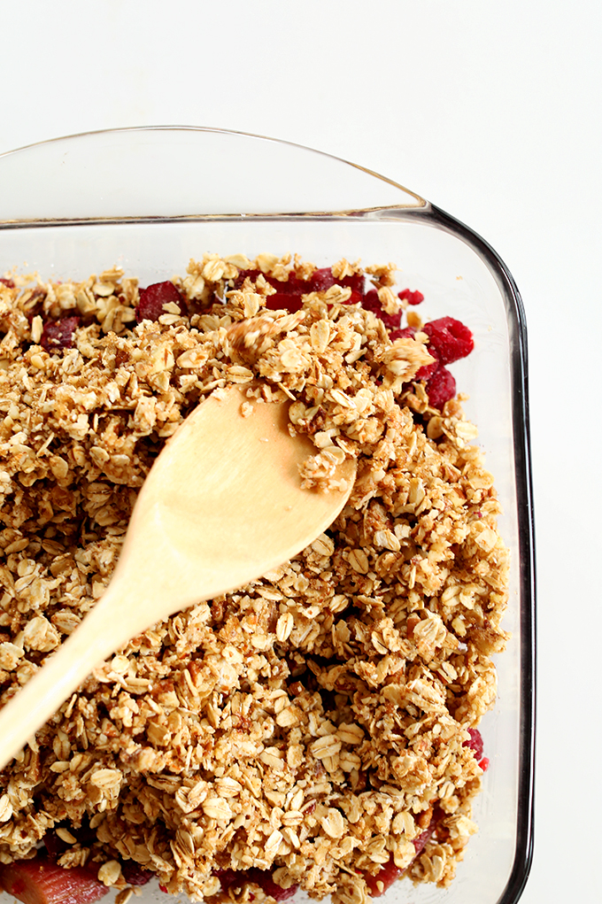 Baking pan filled with a batch of our Raspberry Rhubarb Crisp recipe