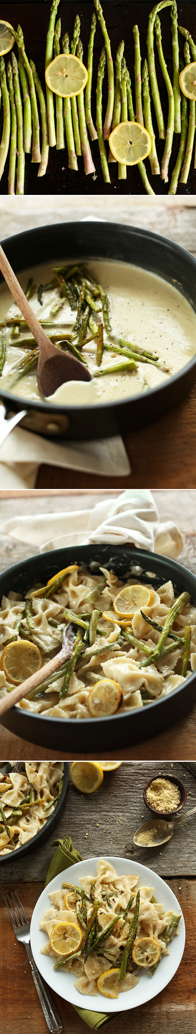 Series of photos showing how to make our Vegan Lemon Asparagus Pasta recipe