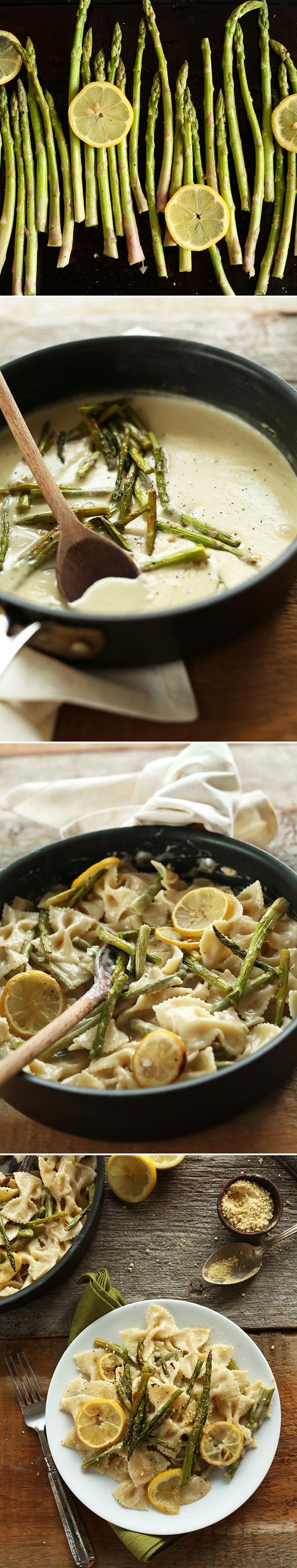Vegan Lemon Asparagus Pasta! 30 minutes, 9 ingredients, SO creamy and delicious! #vegan #minimalistbaker