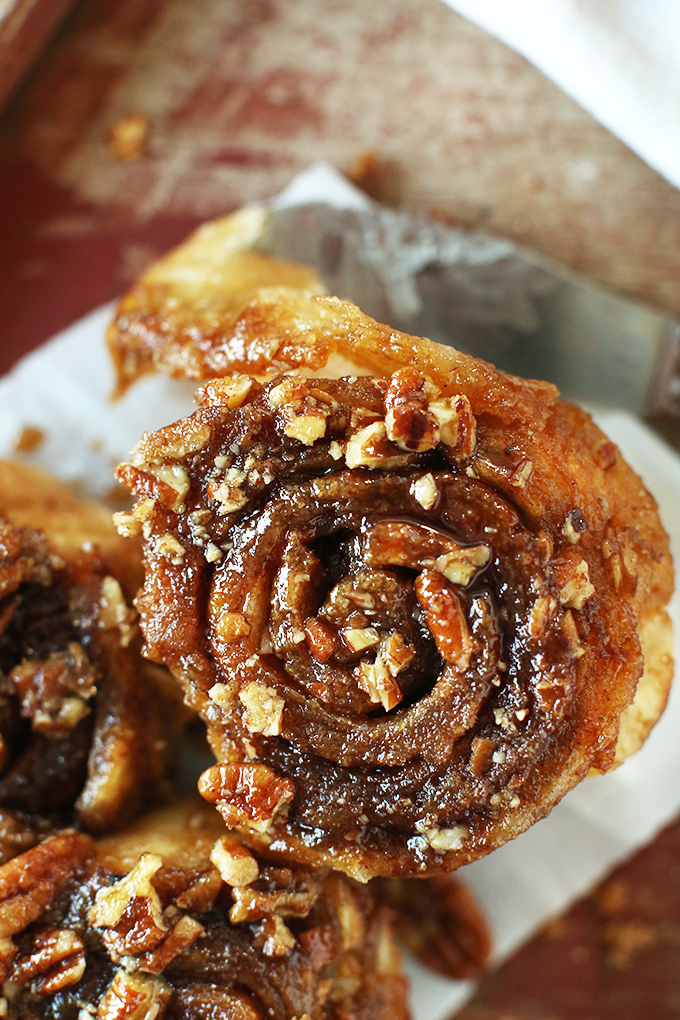 Close up shot of an incredibly delicious Vegan Pecan Sticky Bun