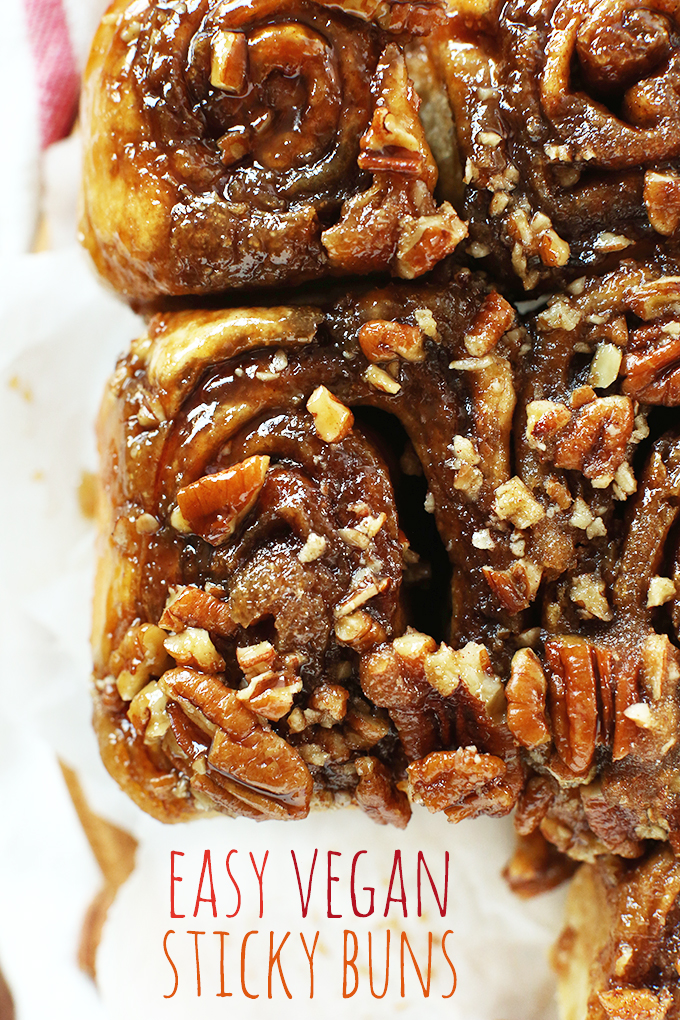 Top down shot of a batch of our Vegan Sticky Buns recipe