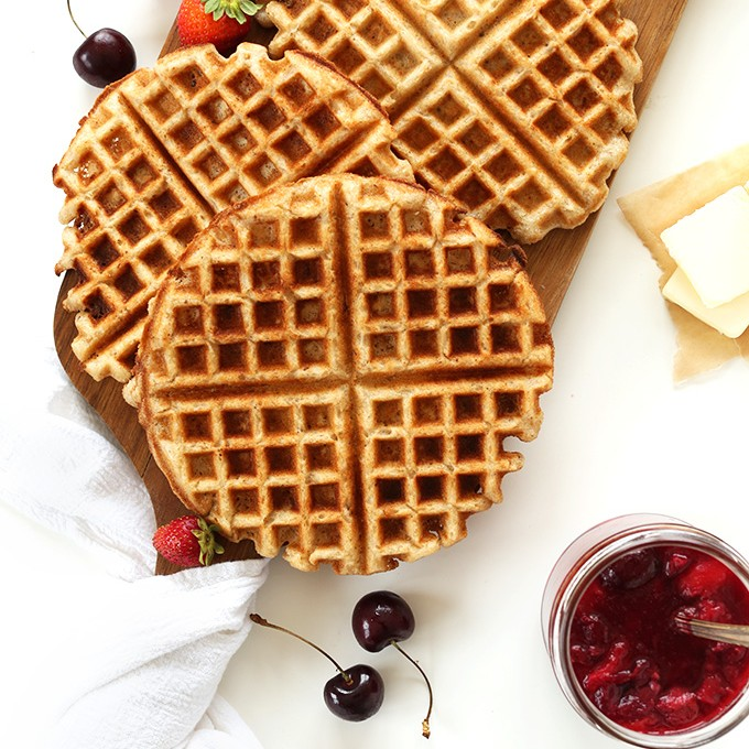 Cutting board with perfectly crispy homemade vegan gluten-free waffles