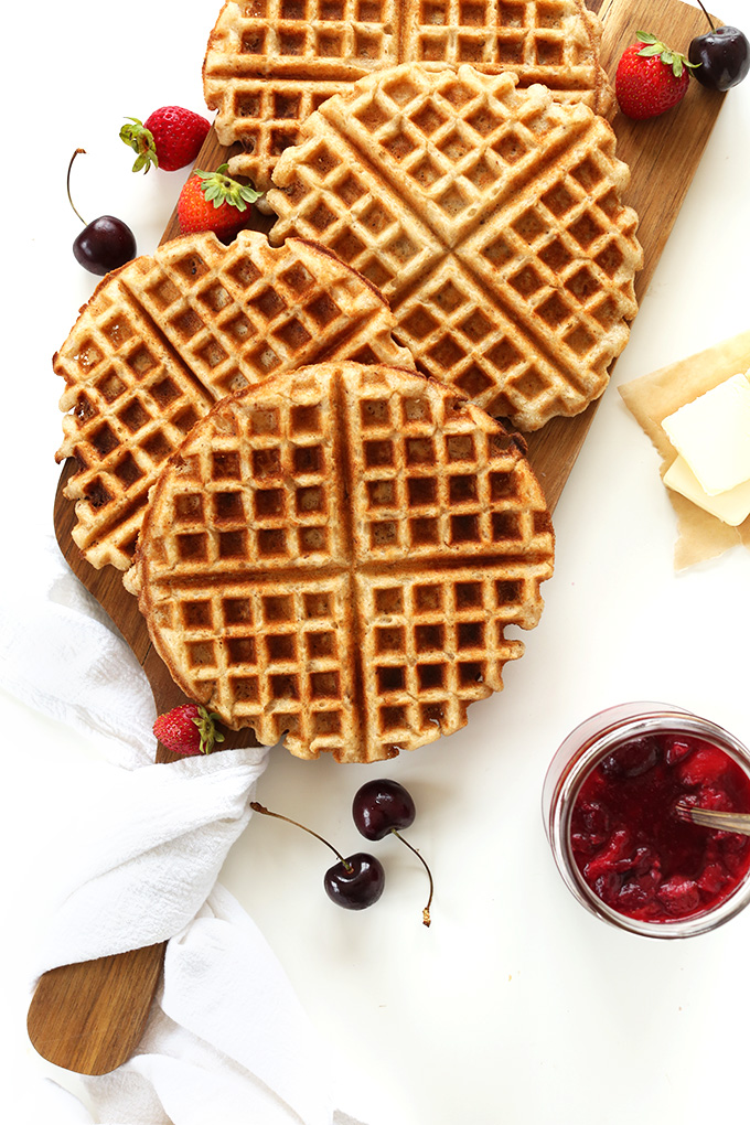 Perfectly crispy Vegan Gluten-Free Waffles with fresh fruit