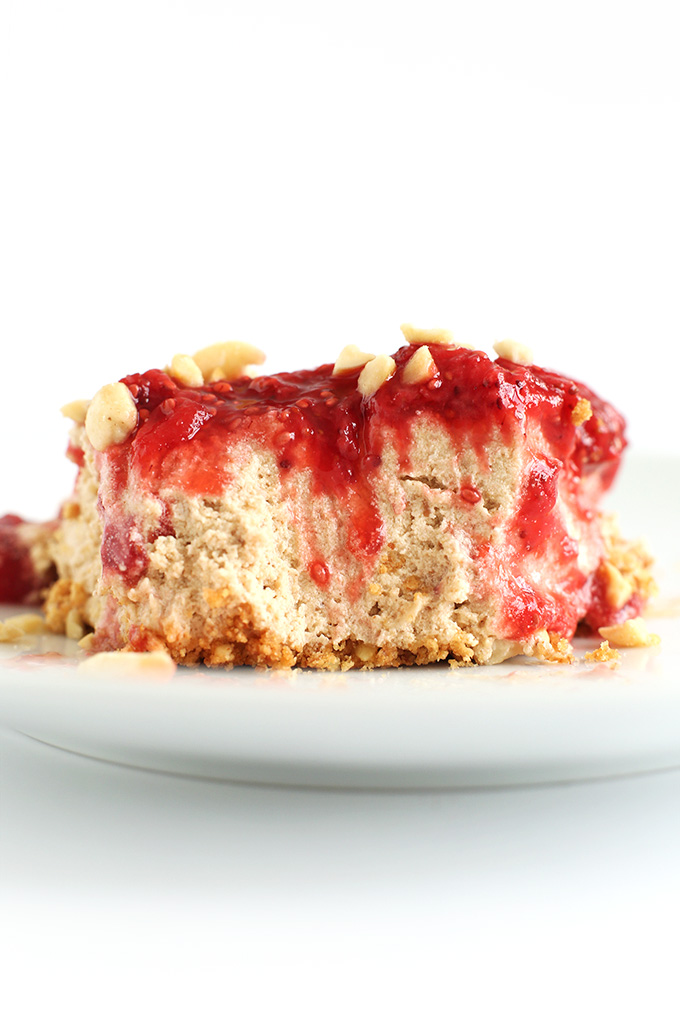 Partially eaten slice of PB and J Pie for a naturally-sweetened vegan dessert