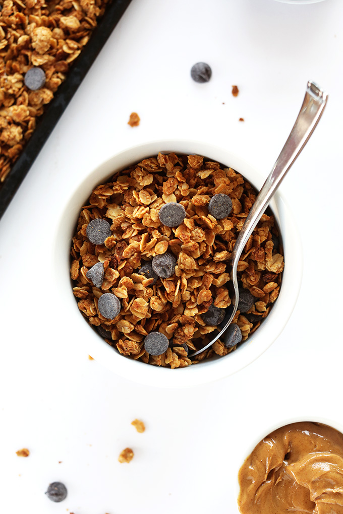 Top down shot of a bowl of Peanut Butter Chocolate Chip Granola