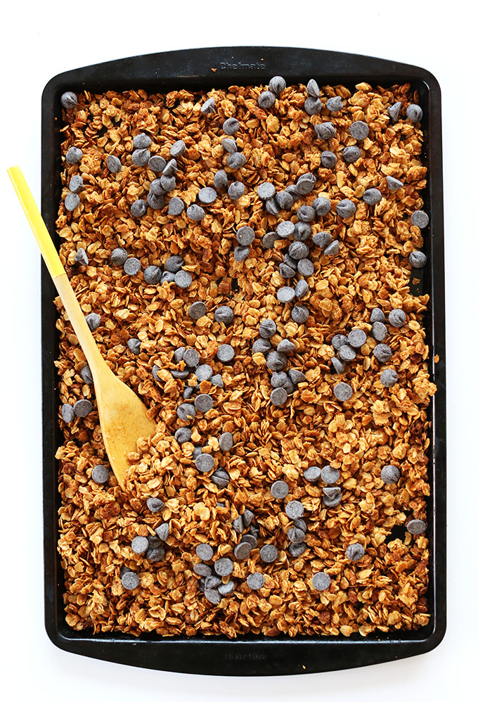 Baking sheet of Peanut Butter Chocolate Chip Granola