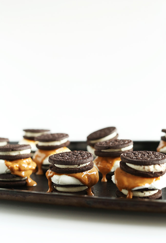 Baking sheet of our AMAZING Peanut Butter S'MOREOS recipe