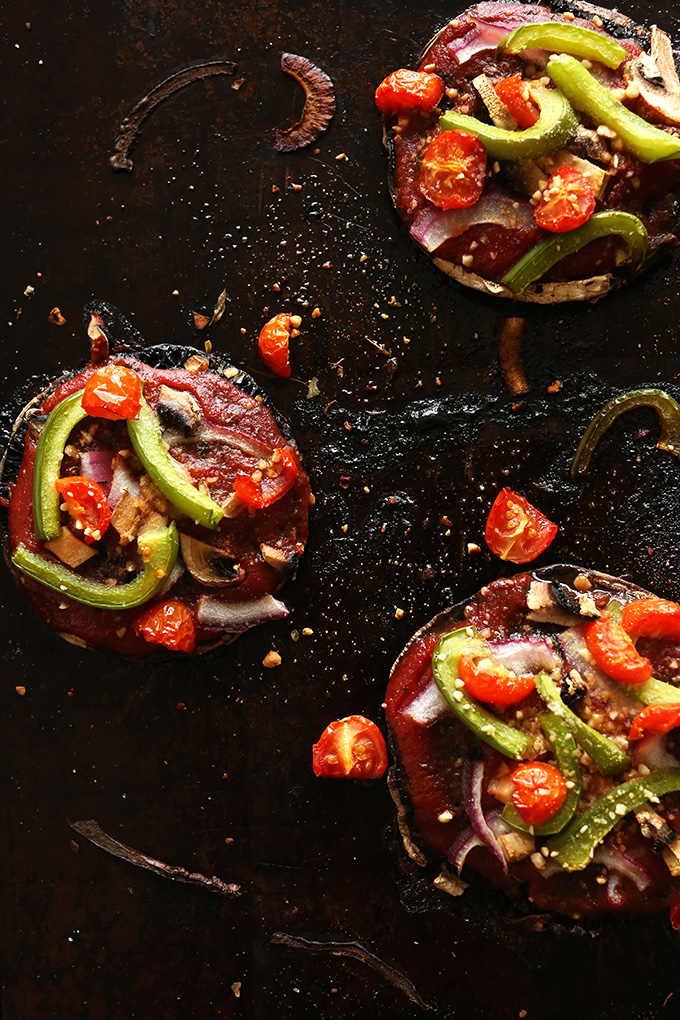 EASY Portobello Pizzas! #vegan #glutenfree #minimalistbaker