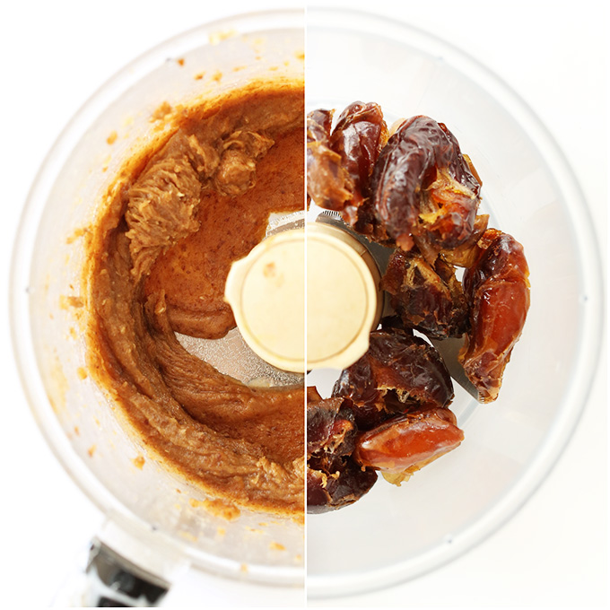 Side by side shot of fresh dates and date caramel in the food processor