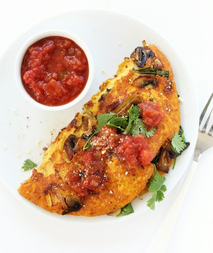 Plate of our Easy Vegan Omelet for a healthy gluten-free vegan breakfast