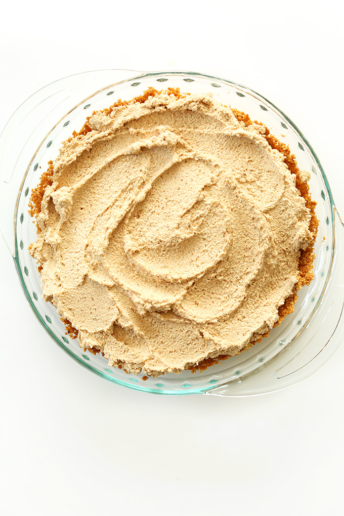 Pie dish filled with our naturally-sweetened Easy Vegan Peanut Butter Pie