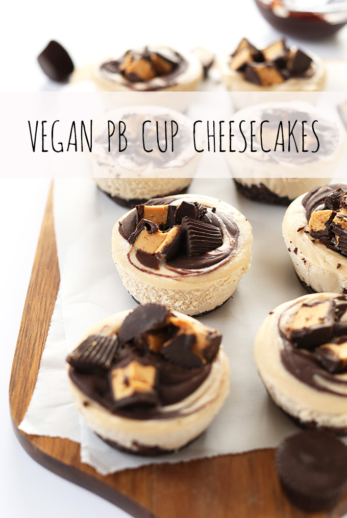 Mini Creamy Vegan PB Cup Cheesecake Bites on parchment paper