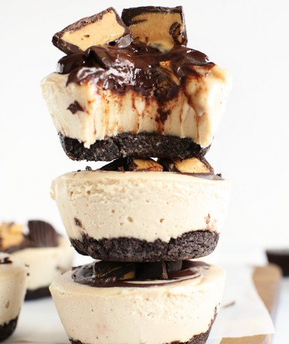 Stack of our Peanut Butter Cup Cheesecakes recipe