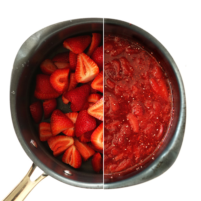 Side by side shot of strawberries and strawberry pie topping in a saucepan