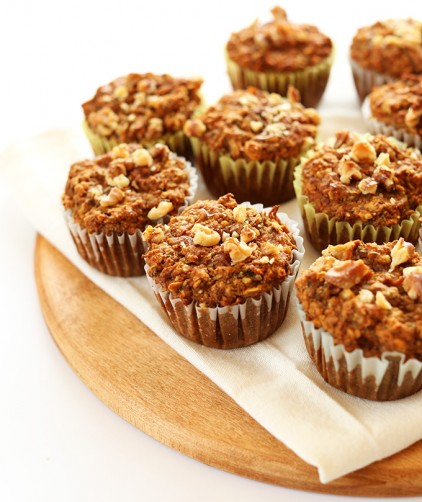 Batch of our simple gluten-free vegan healthy carrot muffins