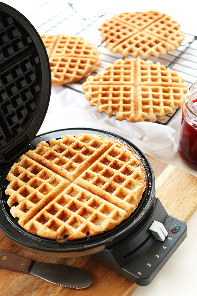 Making delicious Vegan Gluten-Free Waffles in a waffle maker