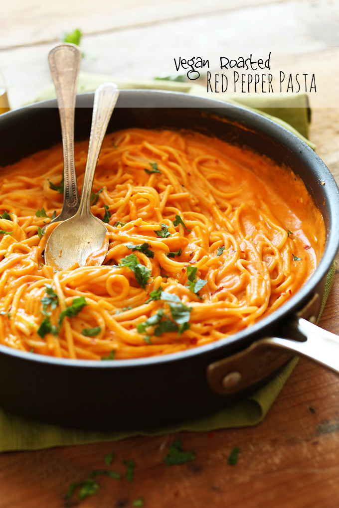 Pan of Vegan Roasted Red Pepper Pasta topped with fresh parsley