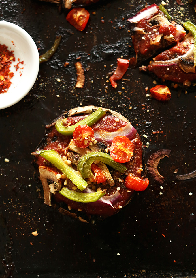 Veggie Portobello Pizza sprinkled with red pepper flakes