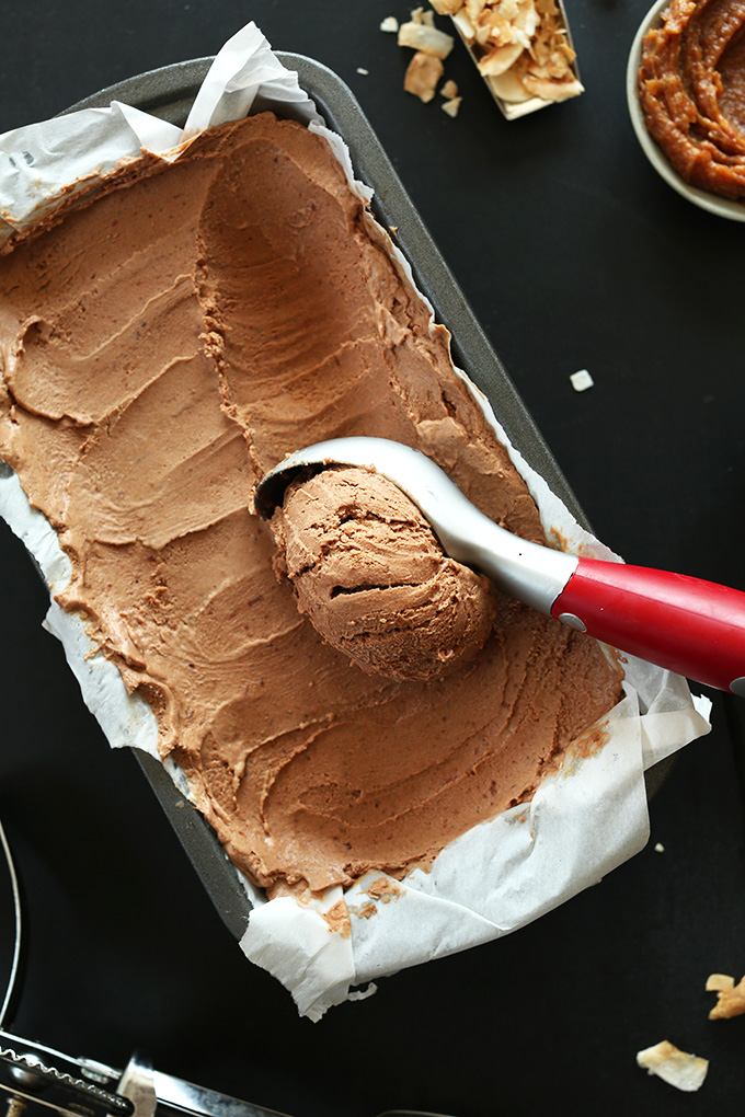 Scooping up No-Churn Vegan Chocolate Ice Cream made with dates
