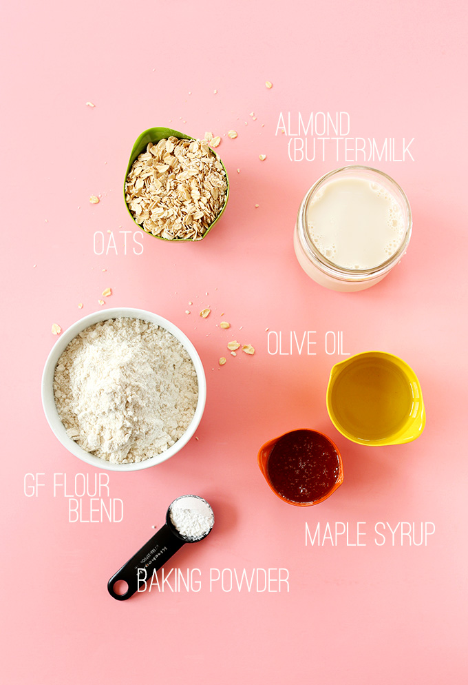 Almond milk, oats, olive oil, maple syrup, and other ingredients for our gluten-free vegan waffles recipe