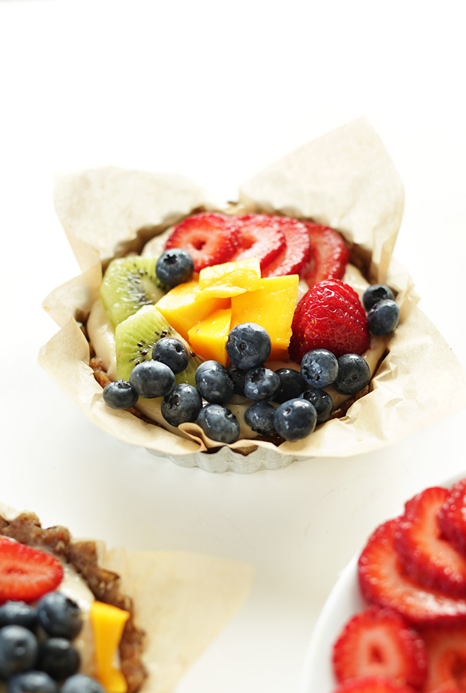 Mini No-Bake Lemon Cookie Fruit Tart made with a creamy dairy-free filling