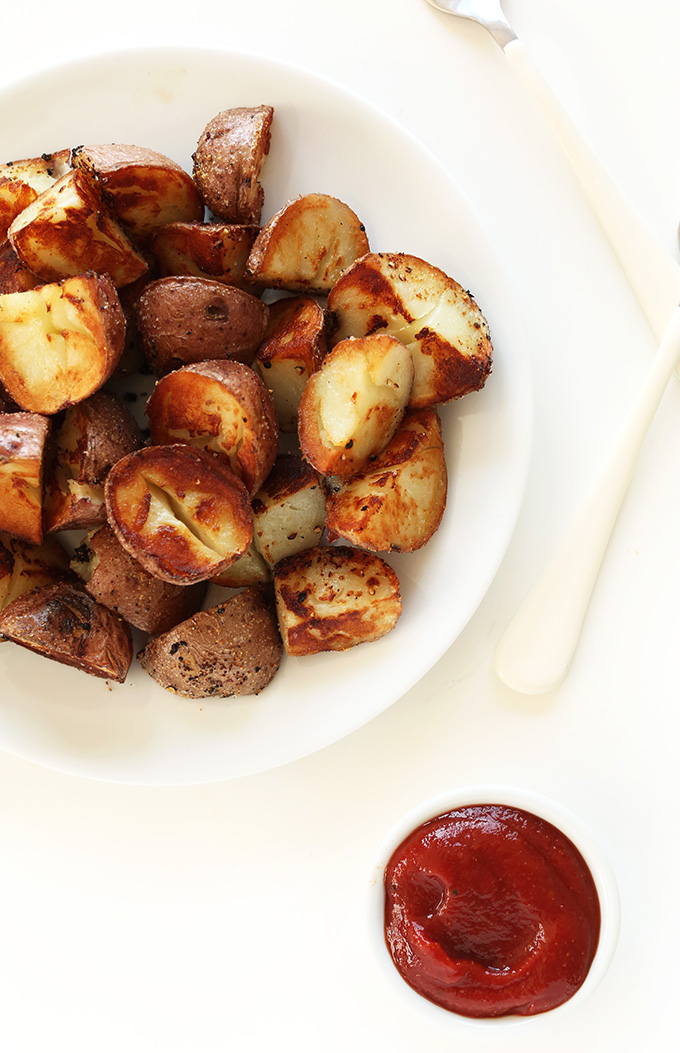 BEST EVER Breakfast Potatoes! Three simple steps to crispy potato perfection #vegan #glutenfree
