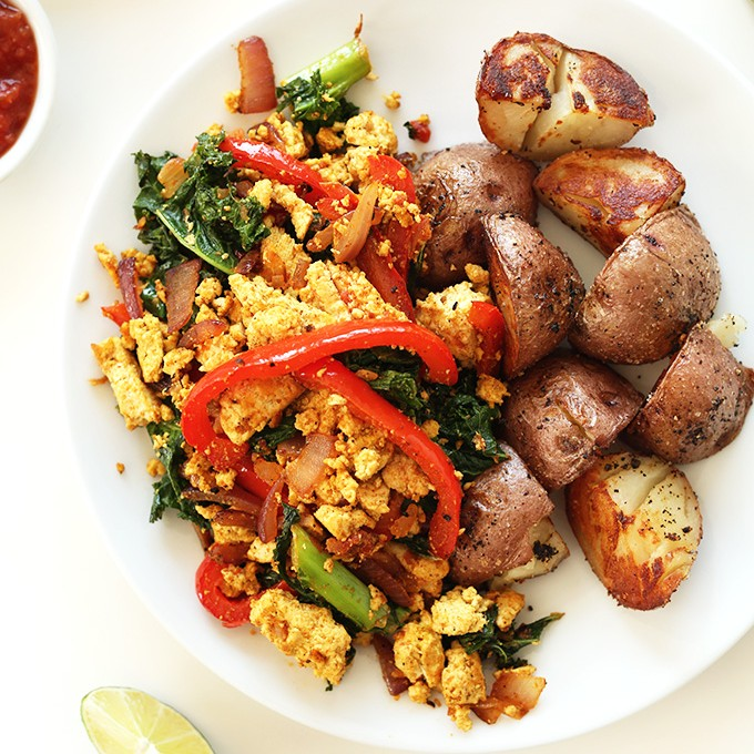 Gluten-free vegan breakfast plate made with Southwest Tofu Scramble and potatoes
