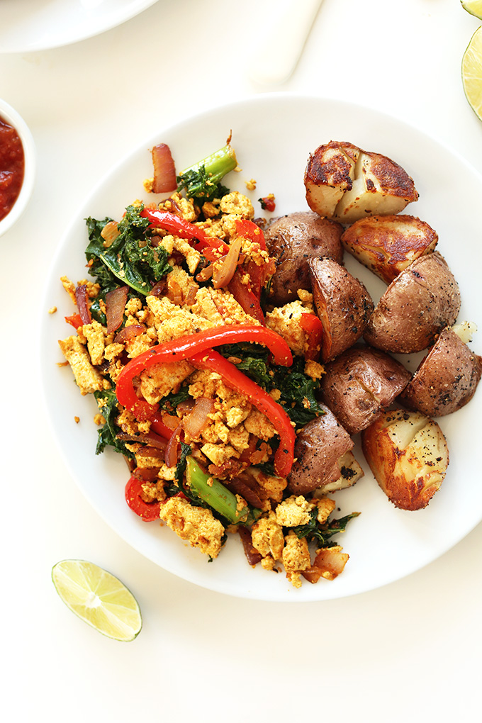 Plate of Southwest Tofu scramble for a simple gluten-free vegan breakfast