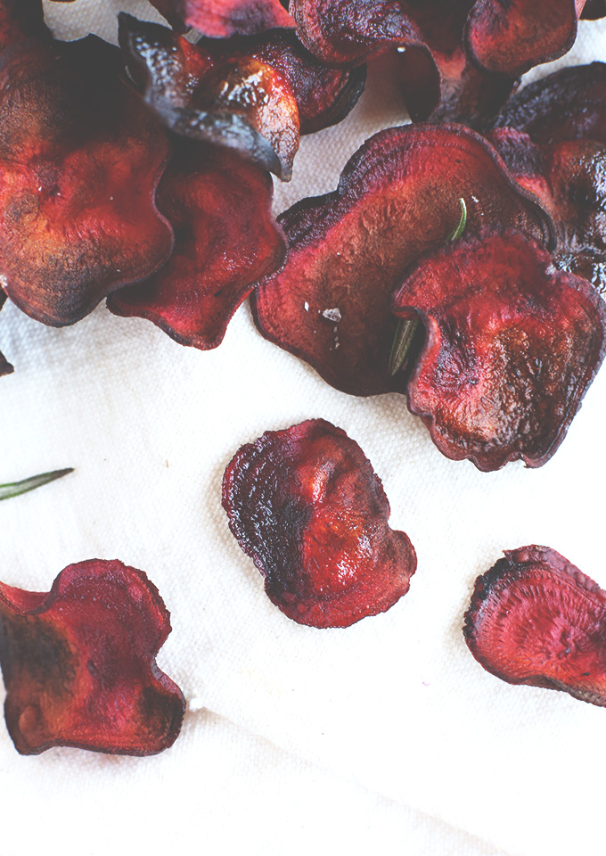 Freshly baked Rosemary Beet Chips resting on fabric