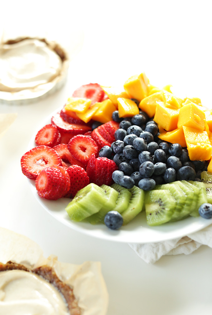 Plate of fresh fruit for filling No Bake Fruit Tarts