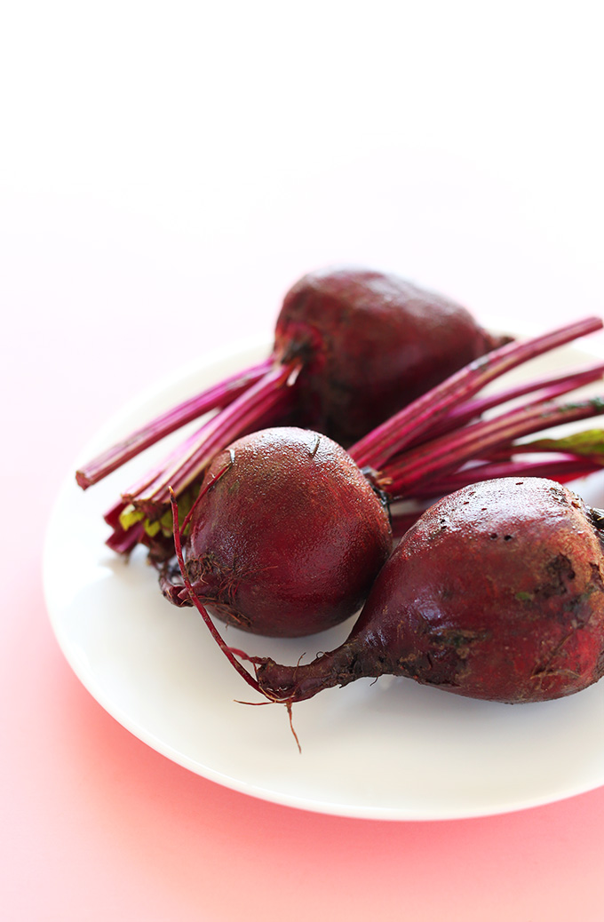 Fresh beets on a plate for making Rosemary Baked Beet Chips
