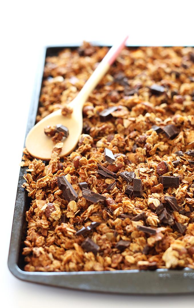 Tray of Almond Joy Granola made with chunks of dark chocolate