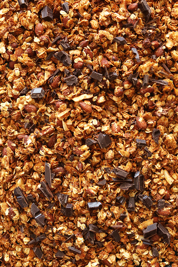 Tray of gluten-free vegan Almond Joy Granola made with oats and almonds