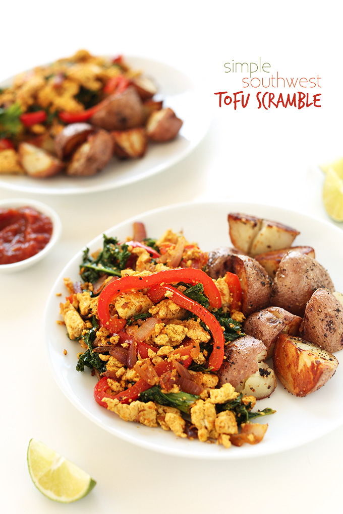 Plates of Southwest Tofu Scramble and breakfast potatoes