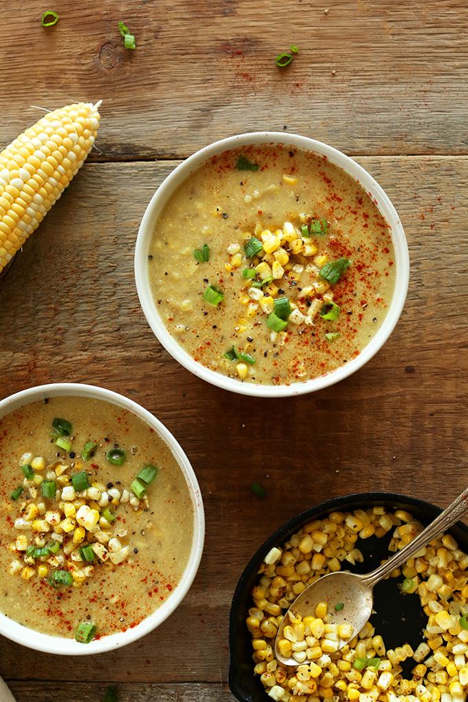 Bowls of our Summer Vegan Corn Chowder recipe
