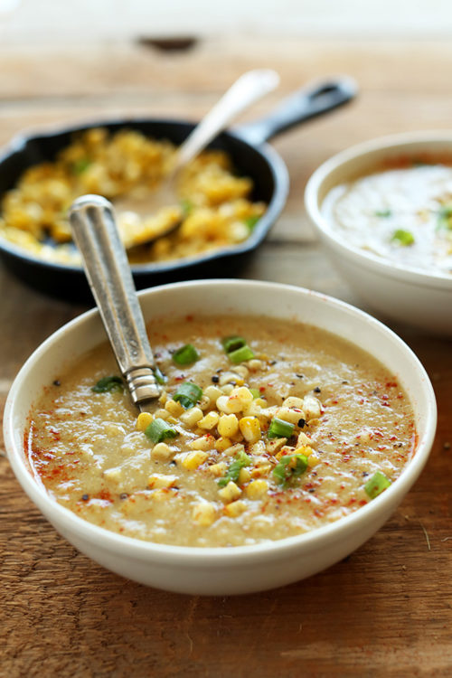 Bowl of gluten-free vegan Corn Chowder for a comforting summer meal