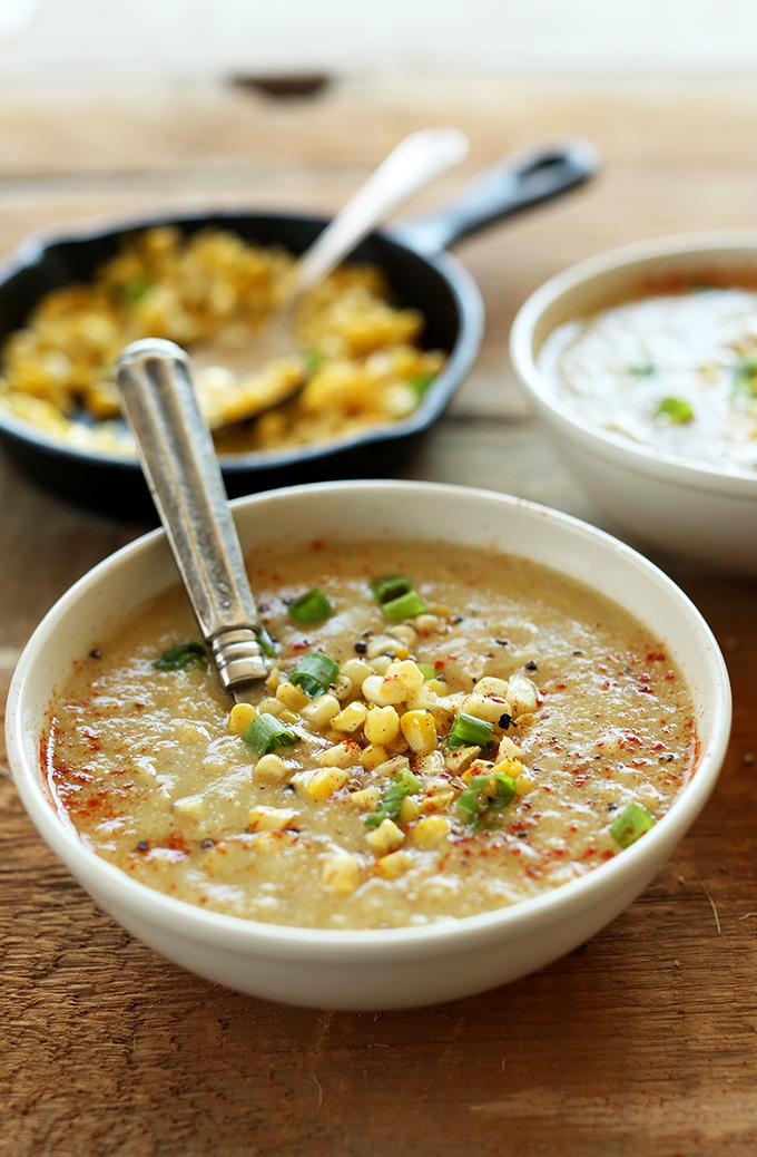 Close up shot of a bowl of Summer Vegan Corn Chowder