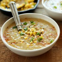 Big bowl of Simple Summer Corn Soup